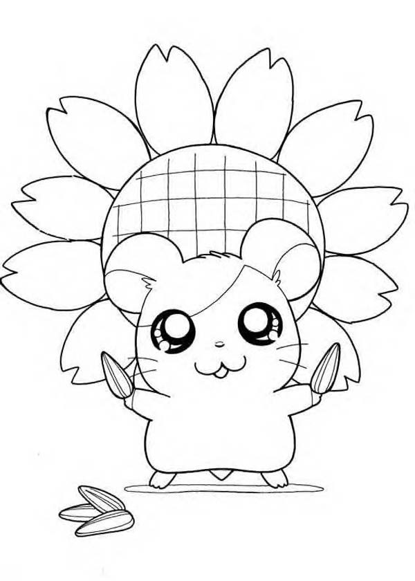 Hamtaro, : Hamtaro Holding Sunflower Seed Coloring Pages