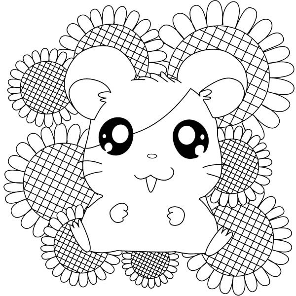 Hamtaro, : Hamtaro Sitting on Sunflower Coloring Pages