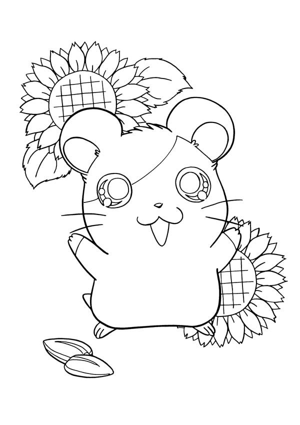 Hamtaro, : Hamtaro is Very Happy Coloring Pages