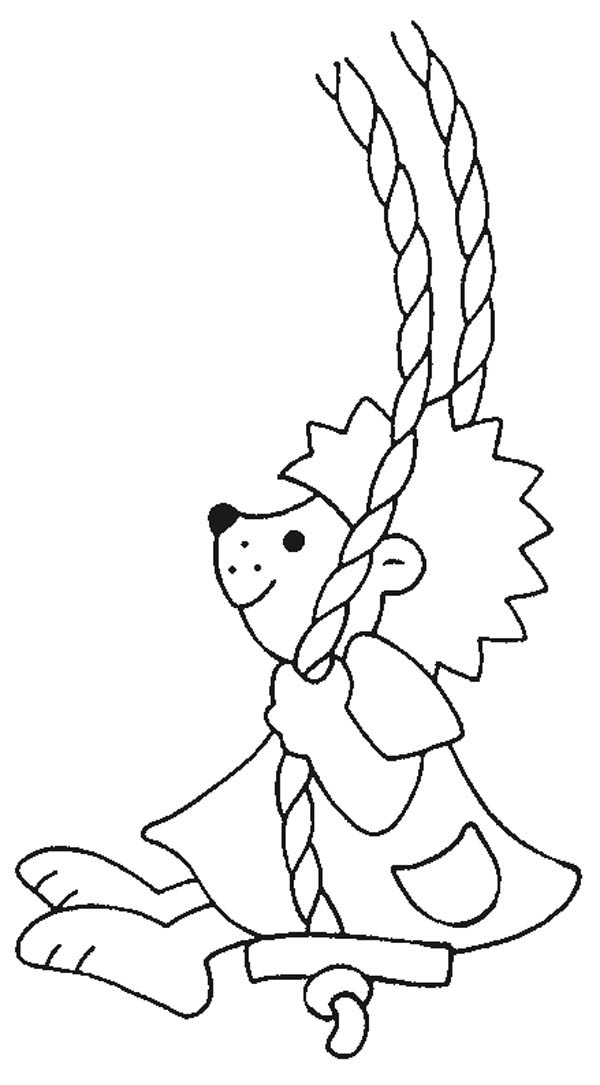 Hedgehogs, : Hedgehog Playing Swing Colouring Pages