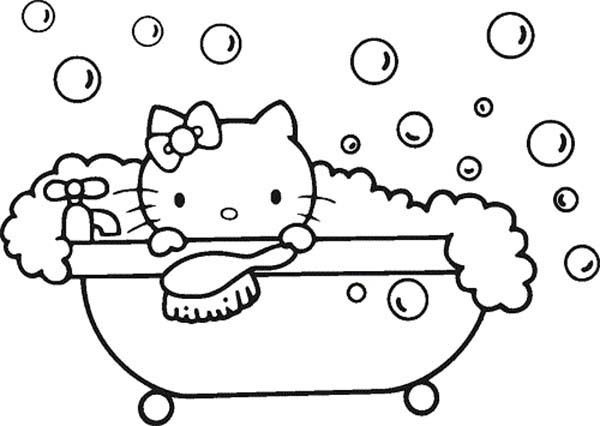 Bath, : Hello Kitty Bubble Bath Coloring Pages