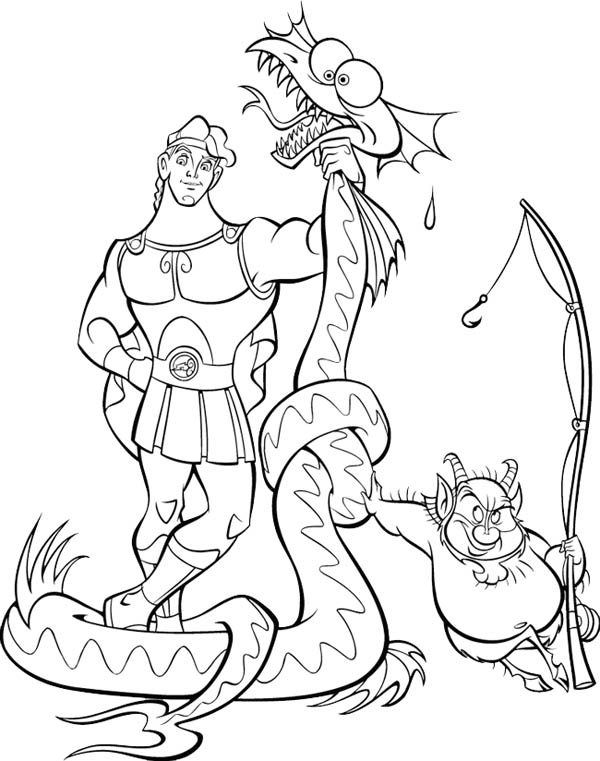 Hercules, : Hercules Beat a Dragon Coloring Pages
