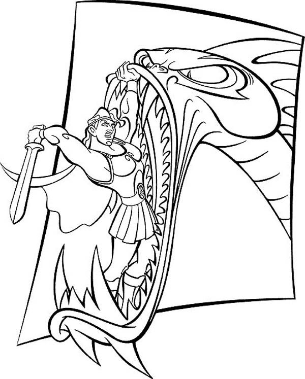 Hercules, : Hercules Fight with Ferocious Dragon Coloring Pages