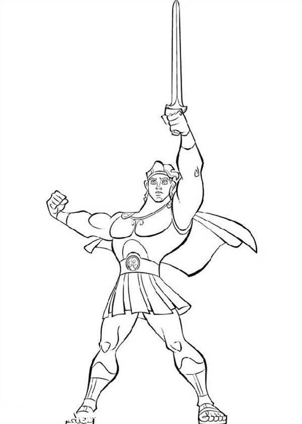 Hercules, : Hercules Lift His Sword High Coloring Pages