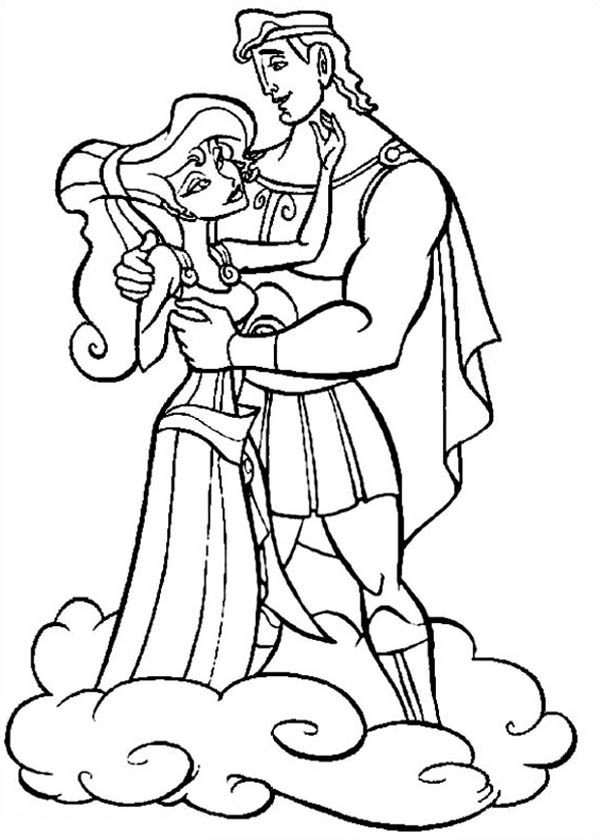 Hercules, : Hercules and Megara Standing on Clous Coloring Pages