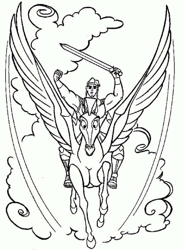 Hercules, : Hercules and Pegasus in Action Coloring Pages