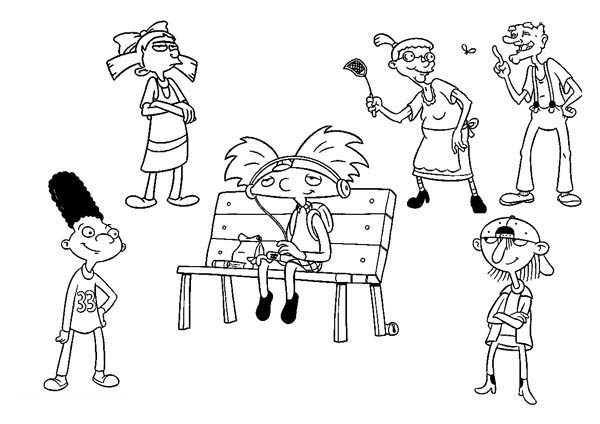 Hey Arnold, : Hey Arnold Coloring Pages for Kids