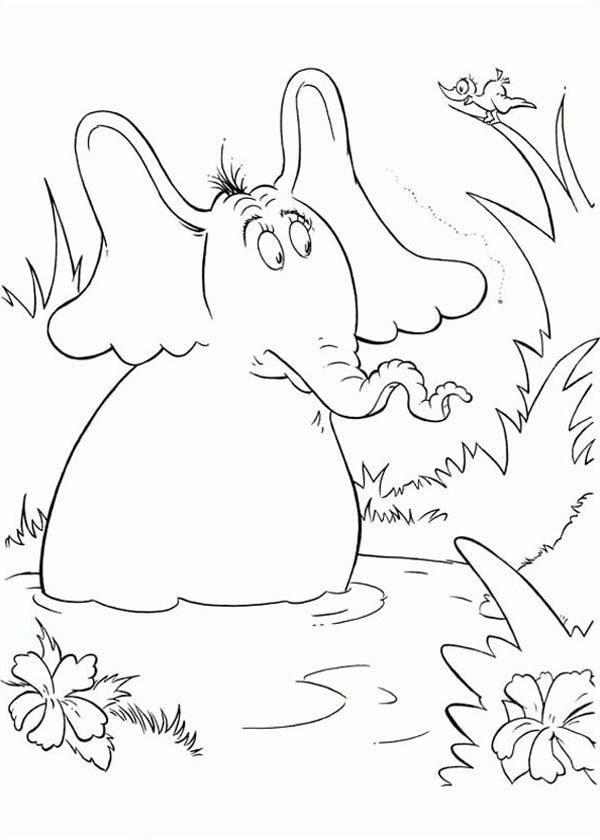 Horton, : Horton Hears a Who Meet a Bird Coloring Pages