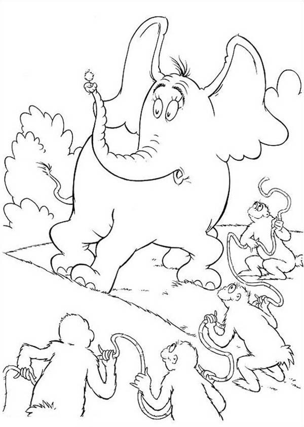 Horton, : Horton Hears a Who Surrounded by the Wickershams Coloring Pages