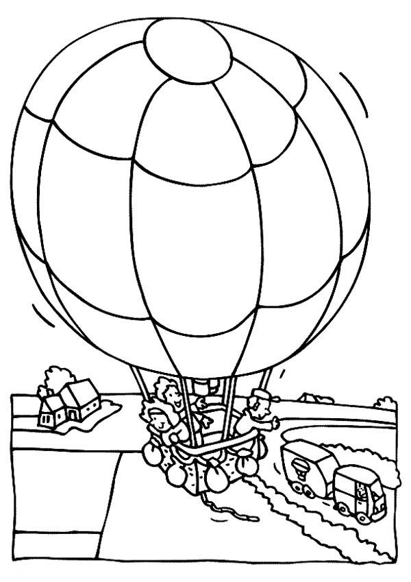 Hot Air Balloon, : Hot Air Balloon Passing Over the Village Coloring Pages