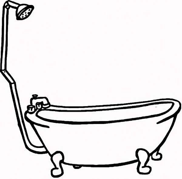 How To Draw Bathtub For Bath Coloring Pages