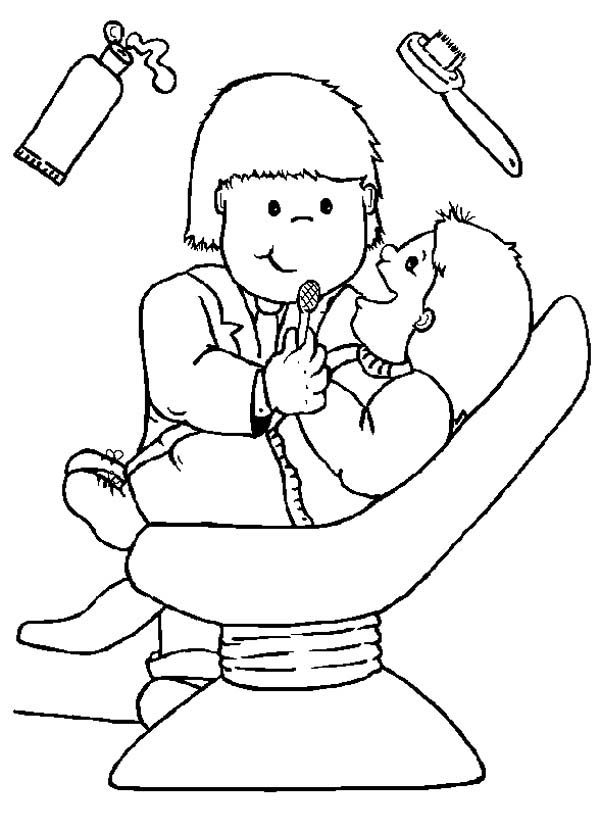 Dentist, : I Like to go to Dentist Coloring Pages