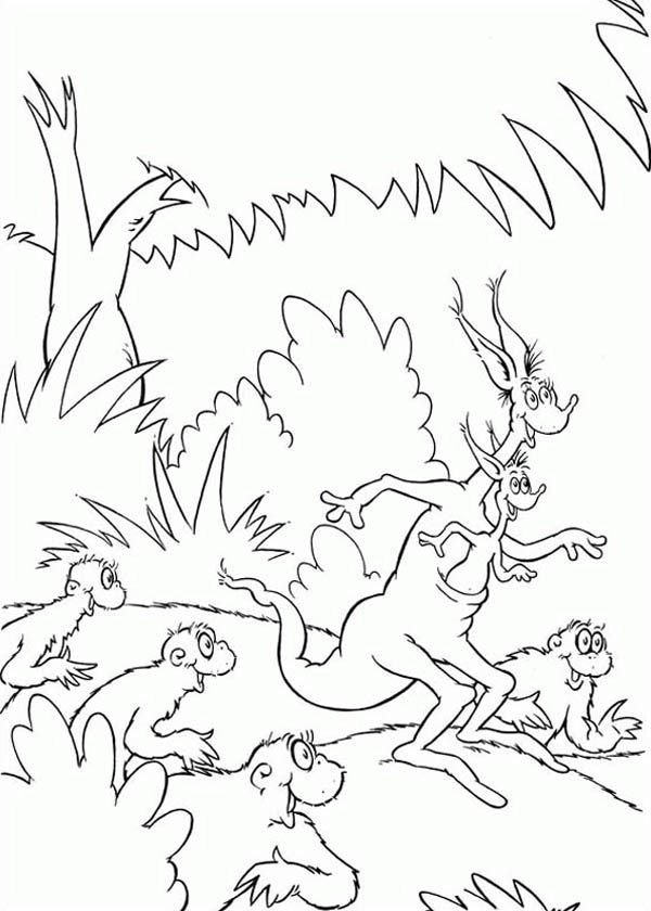 Horton, : Jane Kangaroo Running with the Wickershams in Horton Hears a Who Coloring Pages
