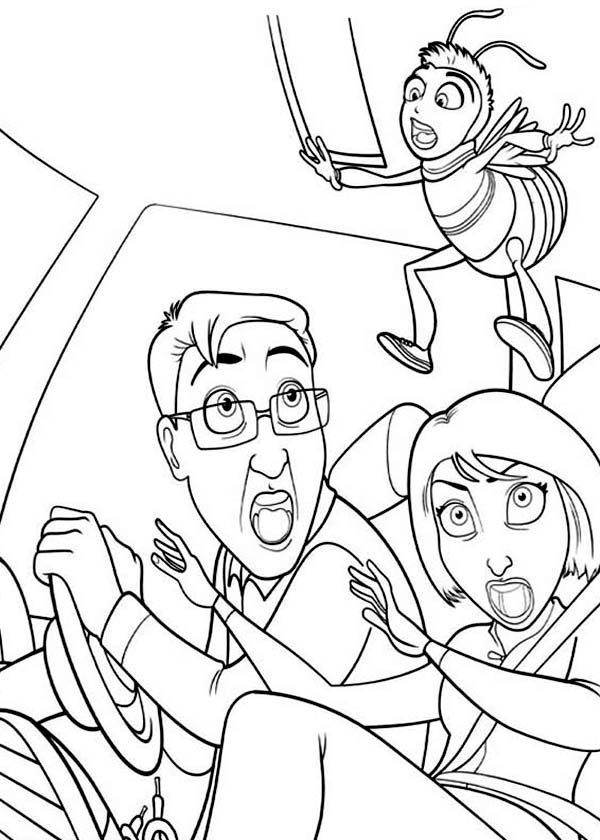 Ken And Vanessa Super Shock With Barry Presence In Bee Movie Coloring Pages