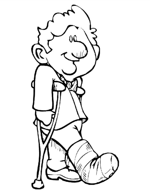 Hospital, : Kid Walking with Walker Help at Hospital Coloring Pages