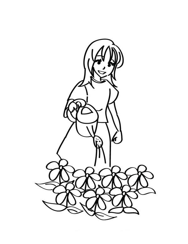 Gardening, : Little Girl Doing Gardening Activity Coloring Pages
