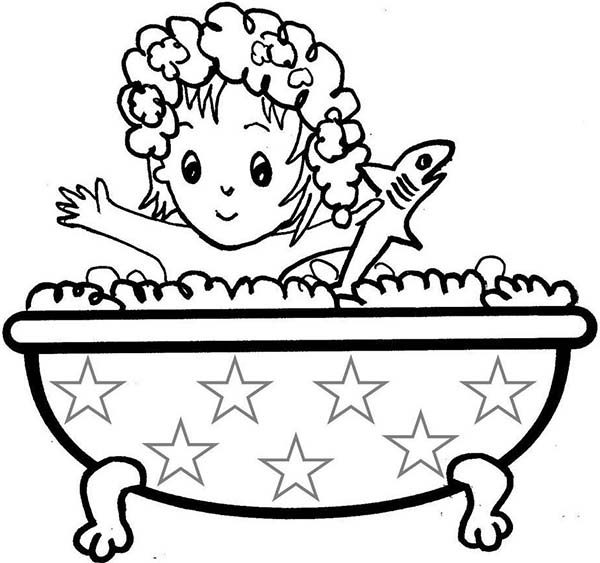 Little Girl Take a Bath with Shark Doll Coloring Pages | Bulk Color