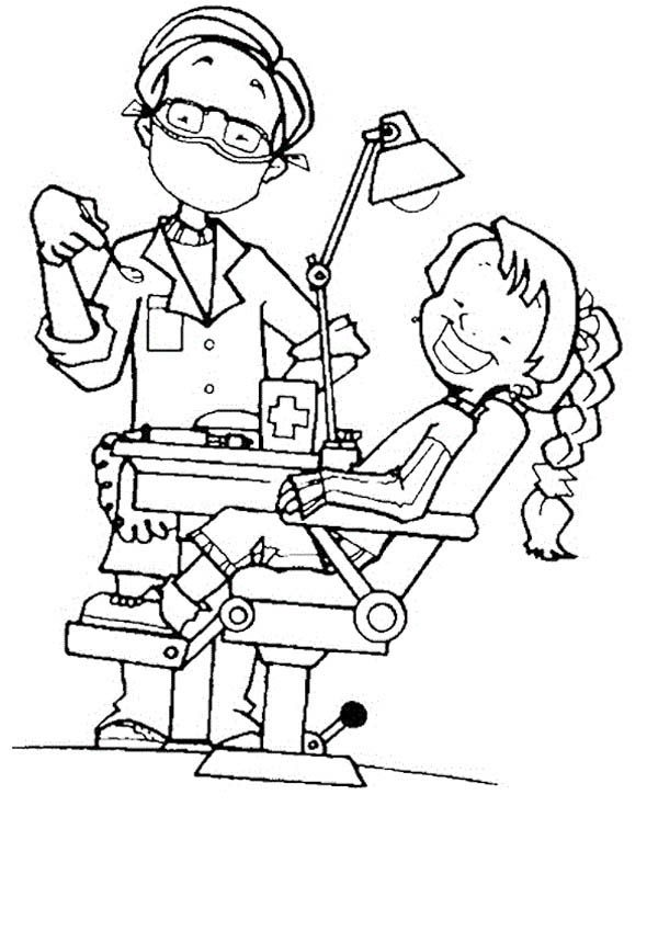 Dentist, : Little Girl and Her Dentist Coloring Pages