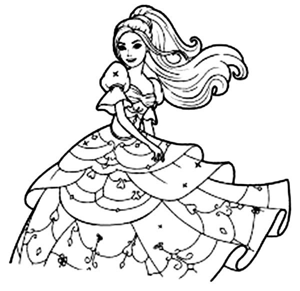 Barbie, : Long Haired Barbie Coloring Pages