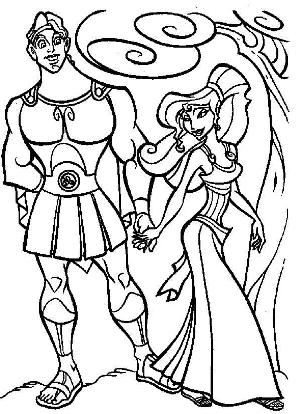 Hercules, : Megara Take Hercules for a Walk Coloring Pages