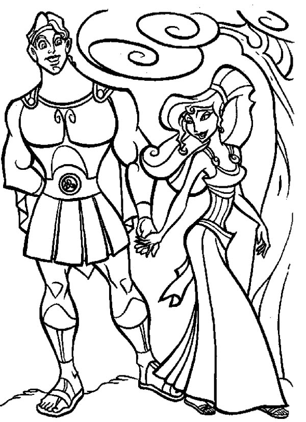 Megara Take Hercules for a Walk Coloring Pages: Megara Take Hercules ...