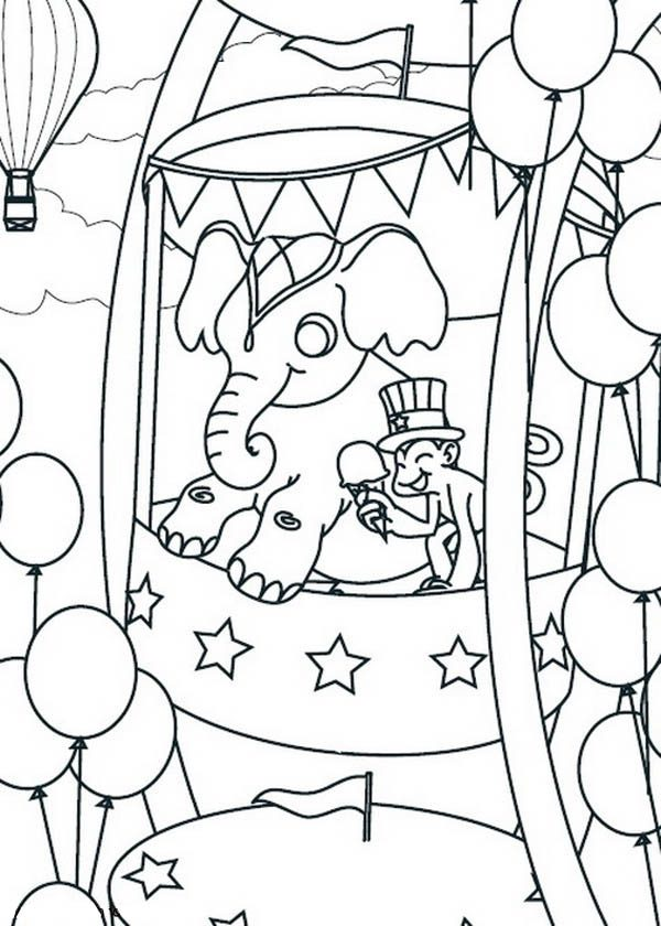 monkey and elephant take ferris wheel at the circus and carnival