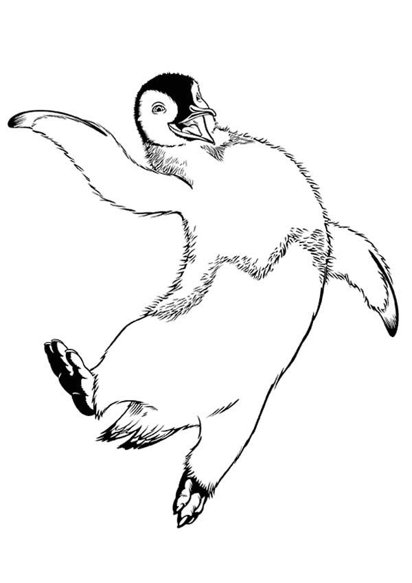 Happy Feet, : Mumble Jumping Happily in Happy Feet Coloring Pages