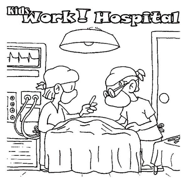 Hospital, : Operation Room at Hospital Coloring Pages