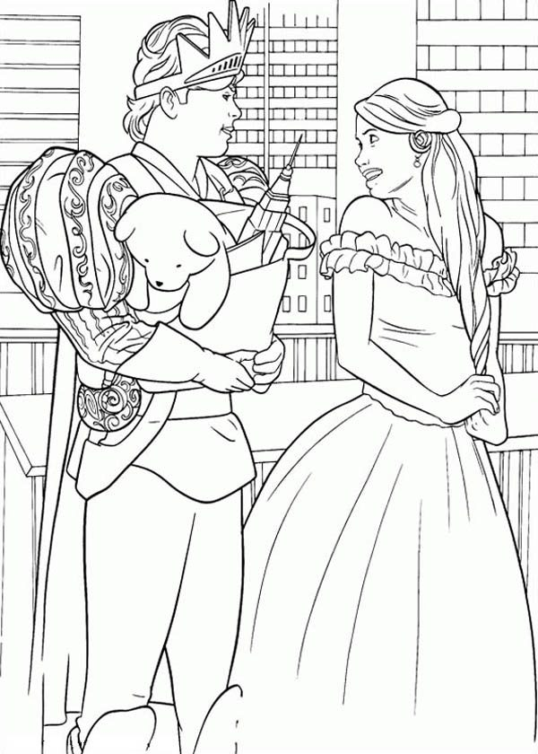 Enchanted, : Prince Edward Give Giselle a Puppy in Enchanted Coloring Pages