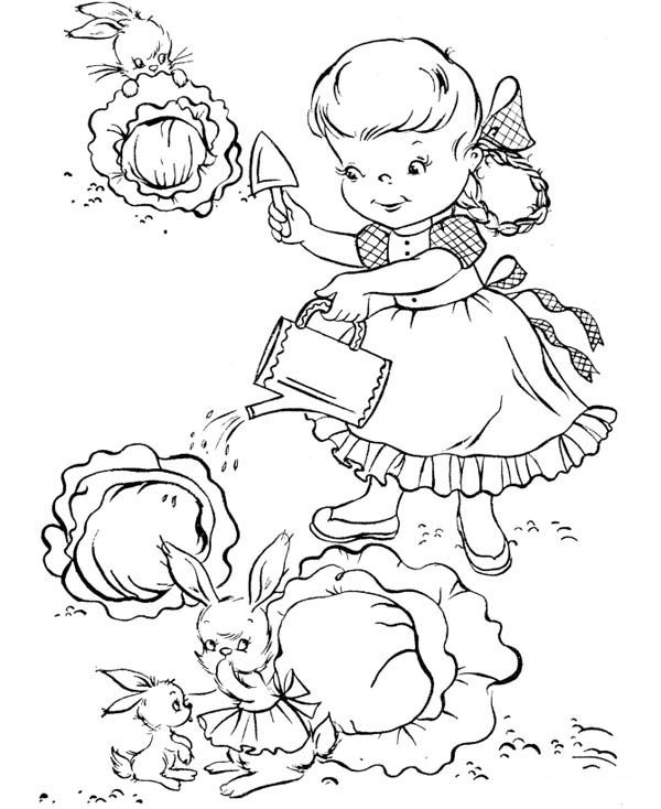Gardening, : Rabbit Stealing Cabbage from Little Garden in Gardening Coloring Pages
