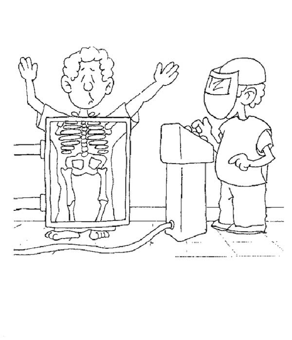 Hospital, : Rontgen at Hospital Coloring Pages