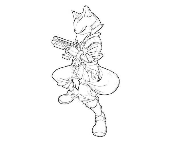 star fox using fire gun coloring pages