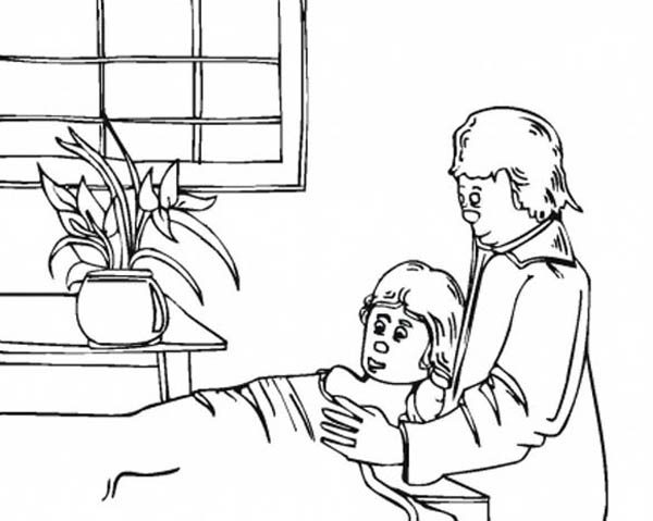 Hospital, : Taking Care of Sick Girl at Hospital Coloring Pages