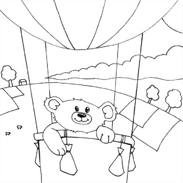 Hot Air Balloon, : Teddy Bear on Hot Air Balloon Coloring Pages
