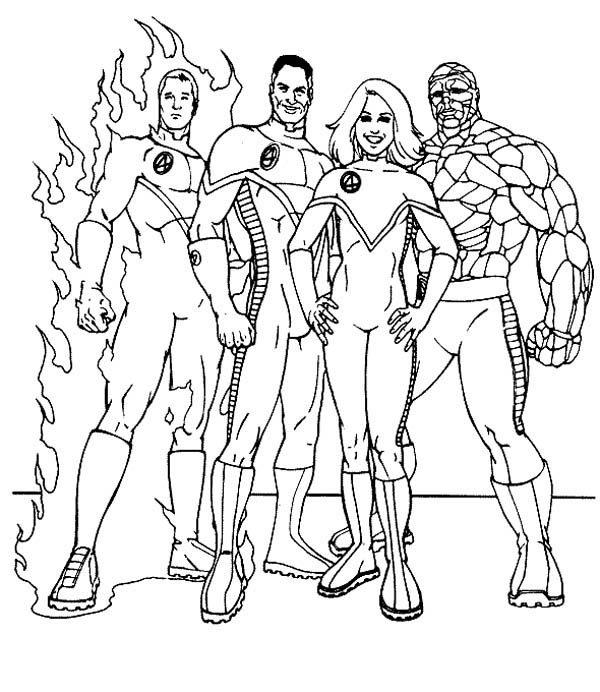 Fantastic Four, : The Famous Fantastic Four Coloring Pages