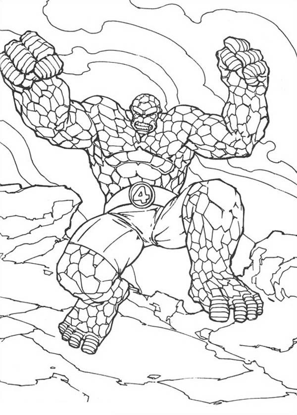 Fantastic Four, : Thing Jump High in Fantastic Four Coloring Pages