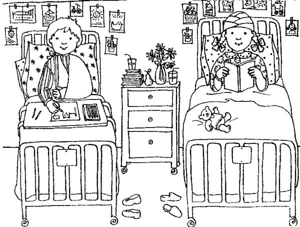 Hospital, : Two Kids got Hospitalization at Hospital Coloring Pages