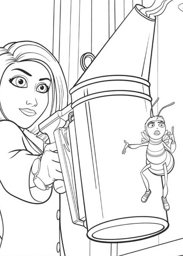 Bee Movie Vanessa Watering Flower With Barry In Coloring Pages