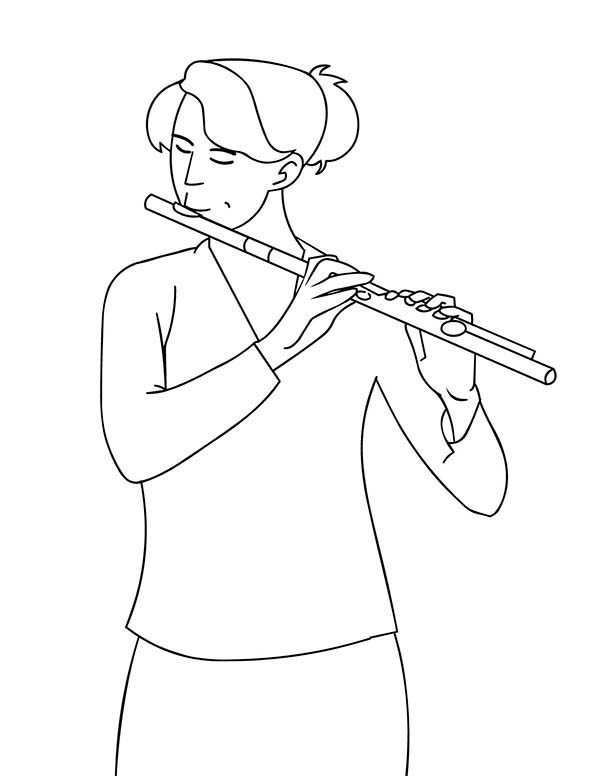 Musical Instruments, : A Girl Play Musical Instruments Flute Coloring Pages 2