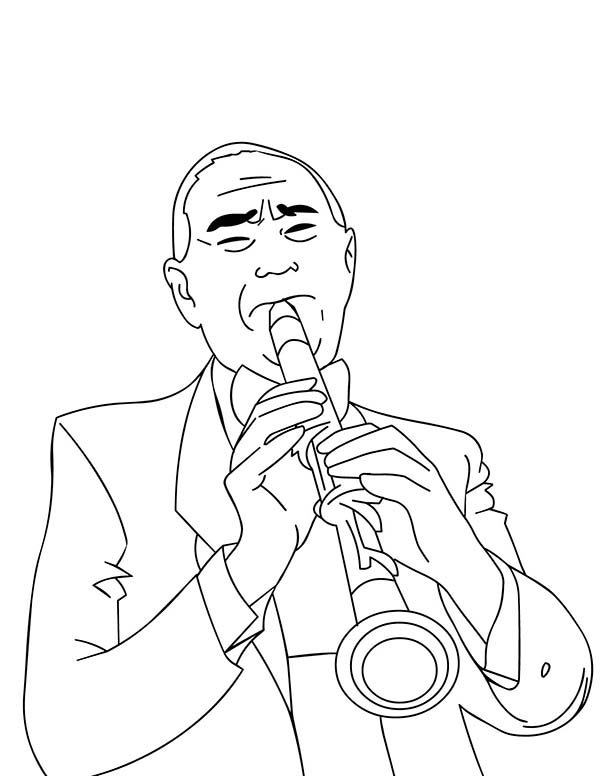 Musical Instruments, : A Man Playing Clarinet Beautifully in Musical Instruments Coloring Pages 2