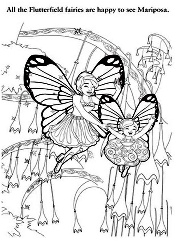 Barbie Mariposa, : All the Flutterfield Fairies are Happy to see Barbie Mariposa Coloring Pages