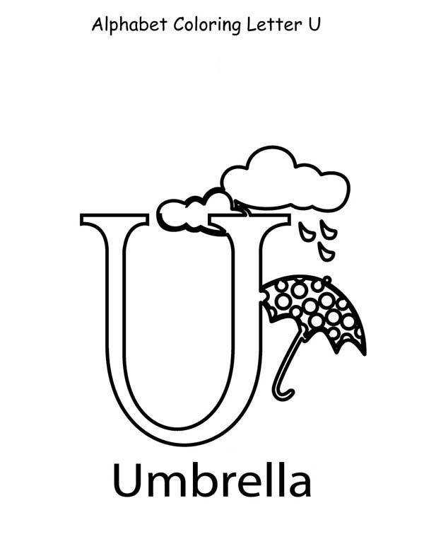 Letter U, : Alphabet Coloring  Page for Letter U
