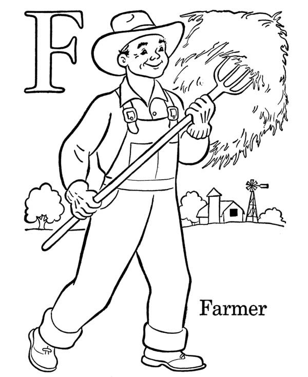 Letter F, : Alphabet Letter F is for Farmer Coloring Page