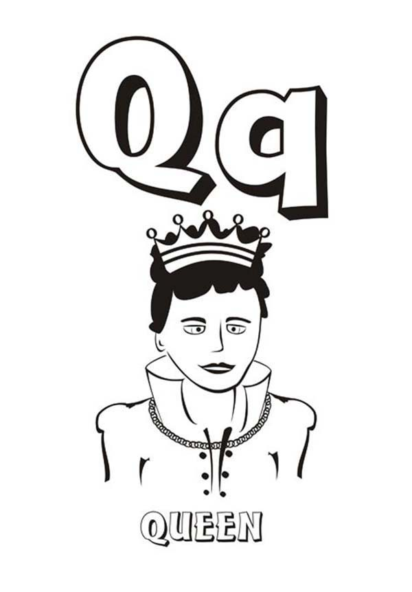 Letter Q, : Alphabet Letter Q is for Queen Coloring Page