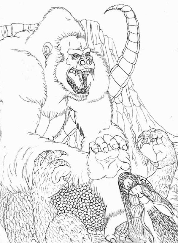 Amazing Fight Godzilla With King Kong Coloring Pages