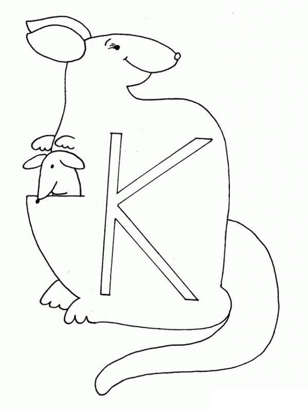 Letter K, : Animal Alphabet Letter K Coloring Page