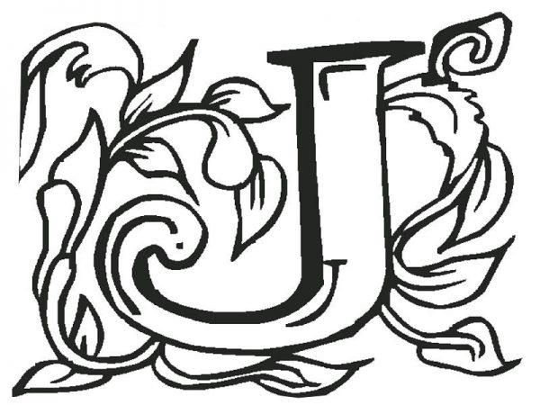 Letter J, : Art Letter J Coloring Page