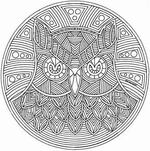 Mandala Animal, : Artistic Owl Mandala Animal Coloring Pages