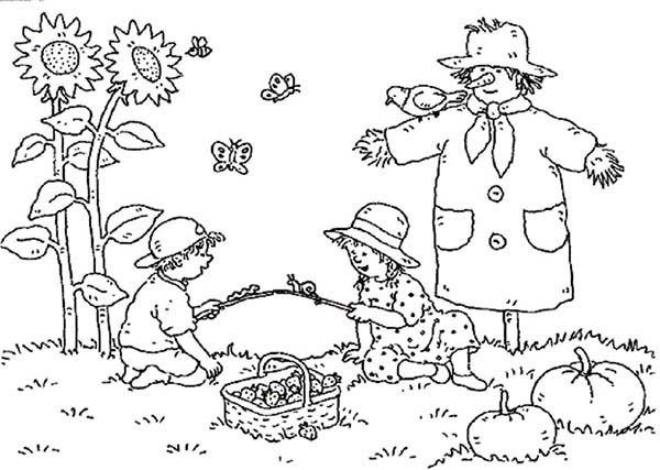 autumn landscape of farm coloring pages - Farm Coloring Pages