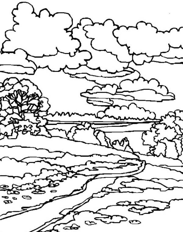 A House Landscapes Coloring Pages Bulk Color